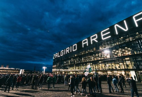 The survey shows Zalgirio Arena as the leader in Baltic region